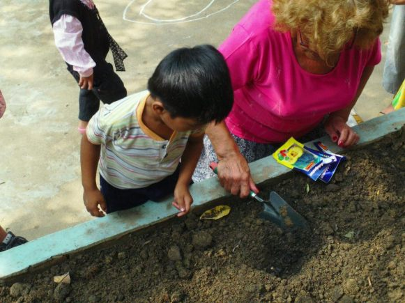 Helping to plant seeds.