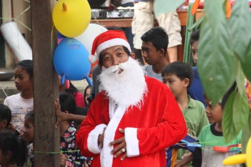 Our teacher Sambath made a great host and Santa!